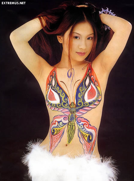 Women With Butterfly Body painting