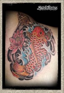 Lotus Flower & King Fish Tattoo