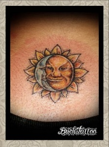 Smile Sun Moon Tattoo Designs