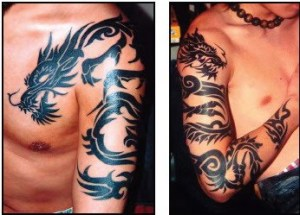 tribal dragon tattoos design