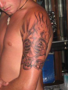 fire padlock tattoo for man
