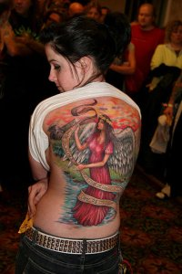 full back body and pin up angle tattoo designs for girls